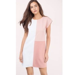 Tobi Night and Day White Color Block Shift Dress